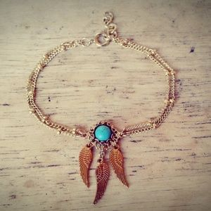 16K Gold Layered Turquoise Dreamcatcher Bracelet